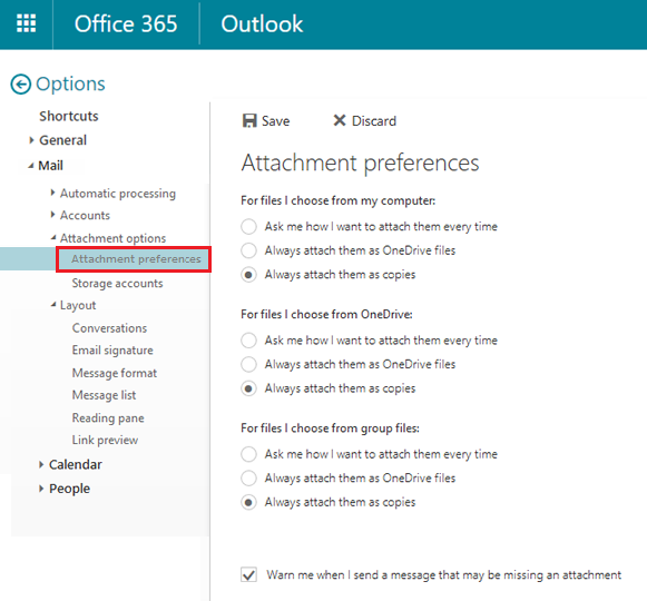 Disable OneDrive when sending attachments on Office365 - IT Services