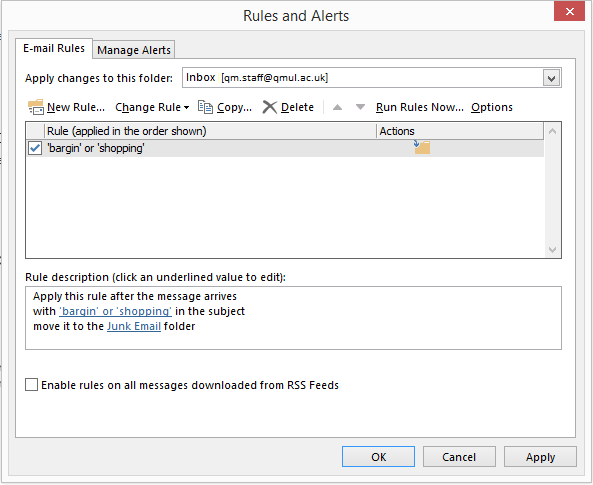 Create an inbox rule on Outlook/Office 365 - IT Services