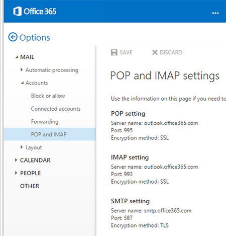 Set Up An Imap Device Or Email Client With Office 365 It Services