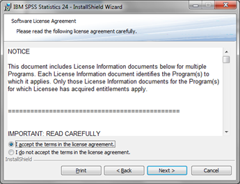 Spss statistics it services on the software licence agreement screen read the terms and select i accept the terms in the license agreement then click next platinumwayz