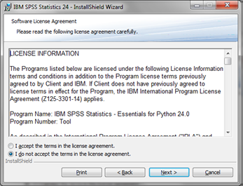 Spss statistics it services on the software license agreement screen read the terms and select i accept the terms in the license agreement then click next platinumwayz