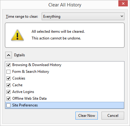 Select Browsing & Download History, Cookies, Cache, Active Logins and Offline Web Site Data.